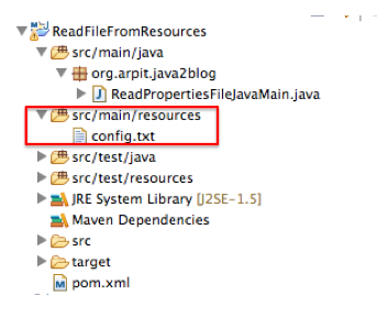Read a file from resources folder in java