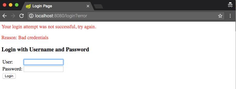 Spring security incorrect credentials