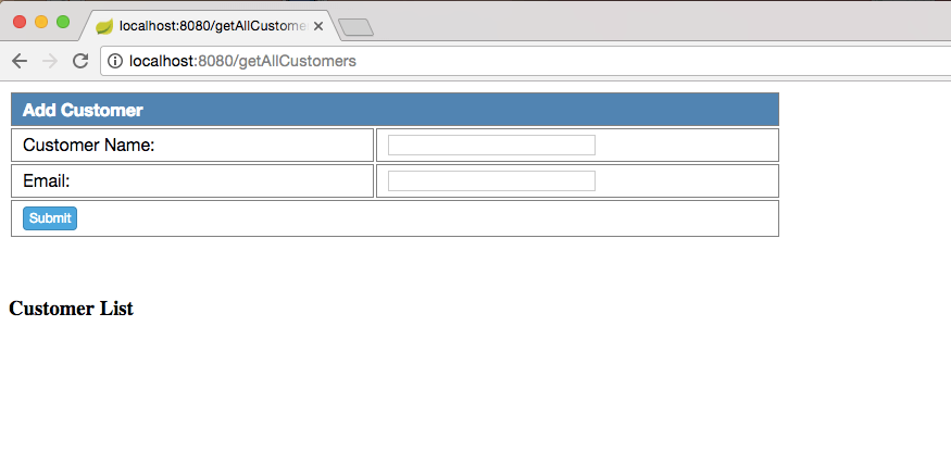 Spring boot Customer blank page